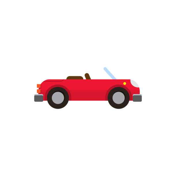Vector illustration red sports convertible flat style Vector illustration red sports convertible flat style on white background isolated convertible stock illustrations