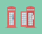 Vector illustration of a red telephone public call box like in the United Kingdom with a payphone in it on a green backround. Separately closed box and open phone booth