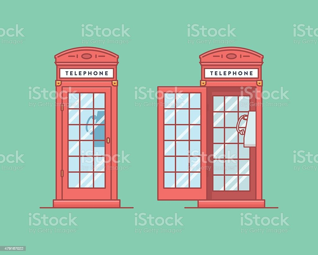 Vector illustration. Red telephone public call box like in the vector art illustration