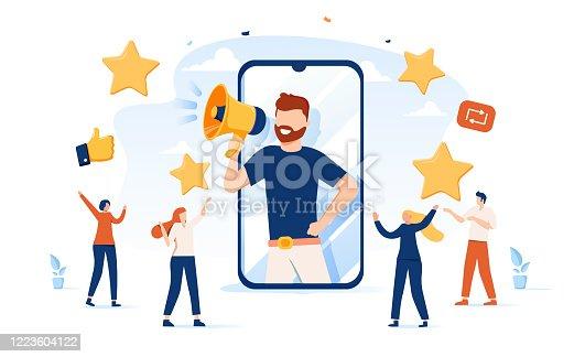 istock Vector illustration, referral marketing concept, friends loyalty program, promotion method. Concept of referral program 1223604122