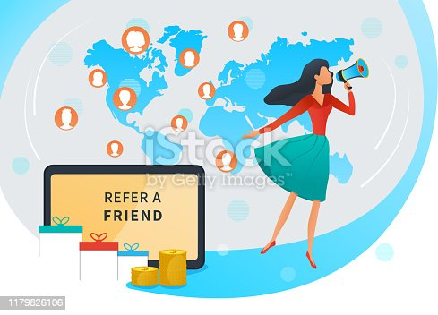 Vector illustration, referral marketing, refer a friend and earn money, loyalty reward program, young woman shout on megaphone, tablet with refer a friend inscription, business promotion, advertising
