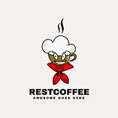 Vector Illustration Rest Coffee Simple Mascot Style