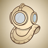 Vector illustration retro diving helmet made in thumbnail style on a sepia background