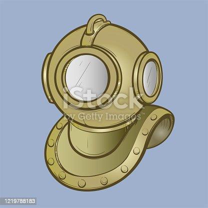 istock Vector illustration retro diving helmet made in thumbnail style 1219788183