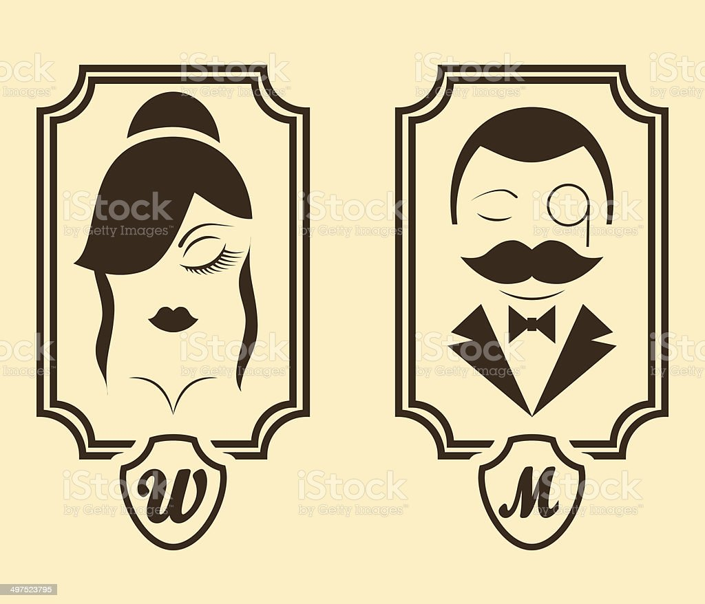 Vector Illustration Retro Style Man Woman Restroom