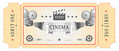 istock Vector illustration. Retro vintage movie ticket in red, white, black colors. Poster, template. 1252926042