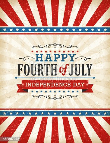 A fourth of July sign is shown here.  There are red and white stripes on the top of the image and at the bottom of the image.  In the center is an off-white section with the phrases