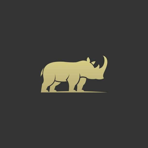 bildbanksillustrationer, clip art samt tecknat material och ikoner med vektor illustration rhino elegant silhuett style. - abstract silhouette art