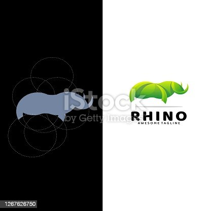 Vector Illustration Rhino Gradient Colorful Style.