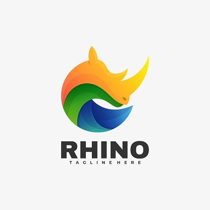 Vector Illustration Rhino Gradient Colorful Style.