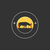 Vector Illustration Rhinoceros Elegant With Circle.
