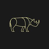 Vector Illustration Rhinoceros Line Art.