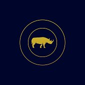 Vector Illustration Rhinoceros With Circle Gold Color.
