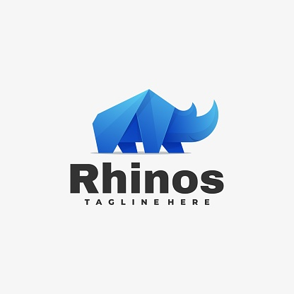 Vector Illustration Rhinos Gradient Colorful Style.
