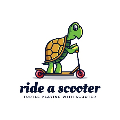 Vector Illustration Ride A Scooter Simple Mascot Style.