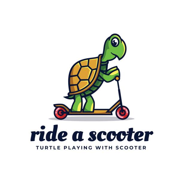 Vector Illustration Ride A Scooter Simple Mascot Style. Vector Illustration Ride A Scooter Simple Mascot Style. amphibians stock illustrations