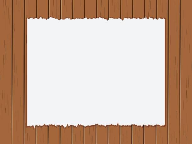 Vektor-Illustration Riss Papier auf alte Holzplatten Hintergrund – Vektorgrafik