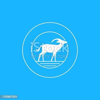 Vector Illustration Roan Antelope Vintage Badge.