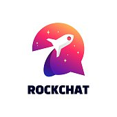 istock Vector Illustration Rocket Chat Gradient Colorful Style. 1275748522