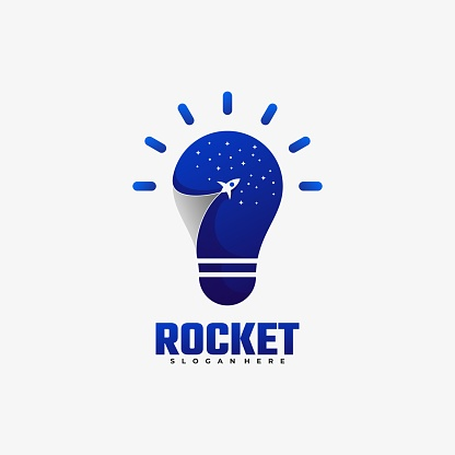 Vector Illustration Rocket Gradient Colorful Style.