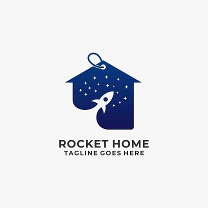 Vector Illustration Rocket Home Negative Space.