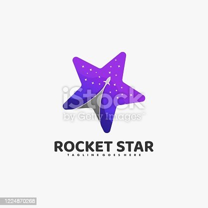 Vector Illustration Rocket Stars Gradient Colorful Style.