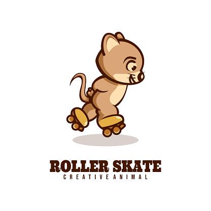 Vector Illustration Roller Skate Mouse Mascot Cartoon Style.