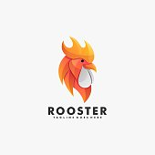 Vector Illustration Rooster Gradient Colorful Style.