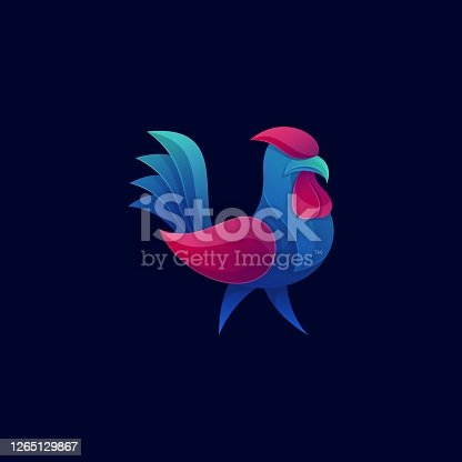 istock Vector Illustration Rooster Gradient Colorful Style. 1265129867