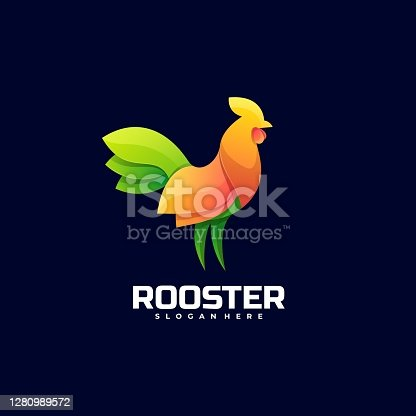 istock Vector Illustration Rooster Gradient Colorful Style. 1280989572