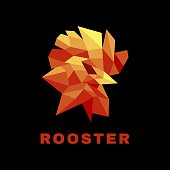 Vector Illustration Rooster Low Poly Style.