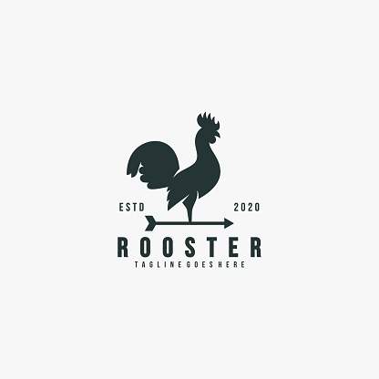 Vector Illustration Rooster Pose Silhouette Style.