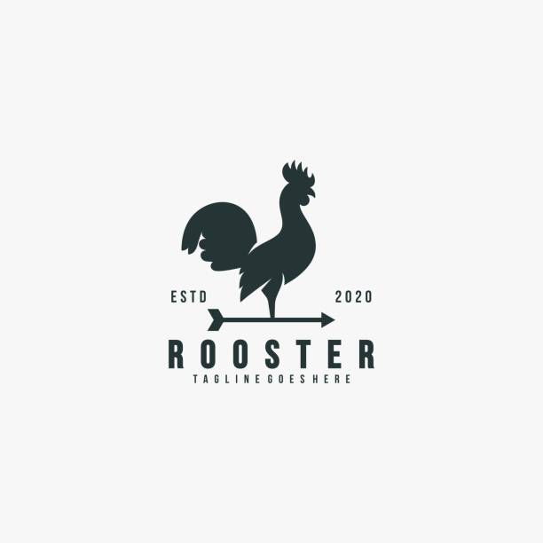 Vector Illustration Rooster Pose Silhouette Style. Vector Illustration Rooster Pose Silhouette Style. domestic animals stock illustrations