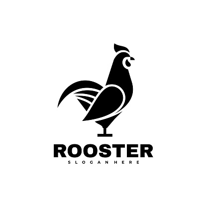Vector Illustration Rooster Silhouette Style.
