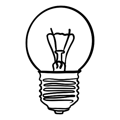 Vector illustration round incandescent light bulb LED lamp black outline. isolated