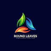 istock Vector Illustration Round leaves Gradient Colorful Style. 1265859890
