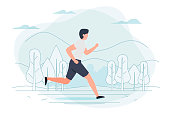 Vector illustration - running man. Park, forest, trees and hills on background. Banner, poster template with place for your text.