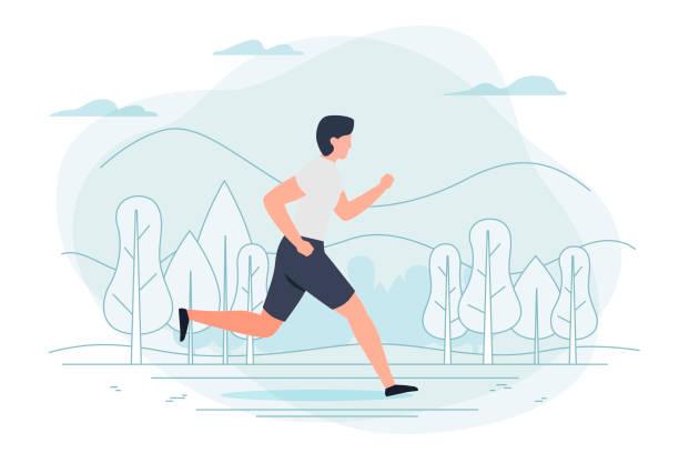 bildbanksillustrationer, clip art samt tecknat material och ikoner med vektorillustration - kör man. park, träd - jogging hill