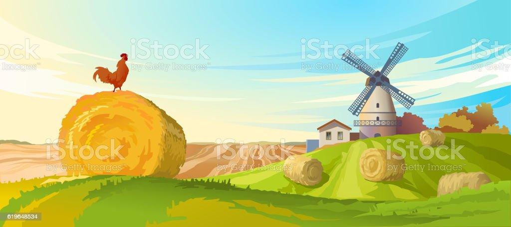 Vector illustration rural summer landscape vector art illustration