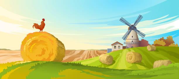 ilustraciones, imágenes clip art, dibujos animados e iconos de stock de vector illustration rural summer landscape - straw field