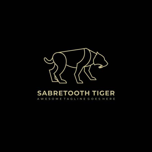 Vector Illustration Saber Tooth Line Art Style. Vector Illustration Saber Tooth Line Art Style. lion feline stock illustrations