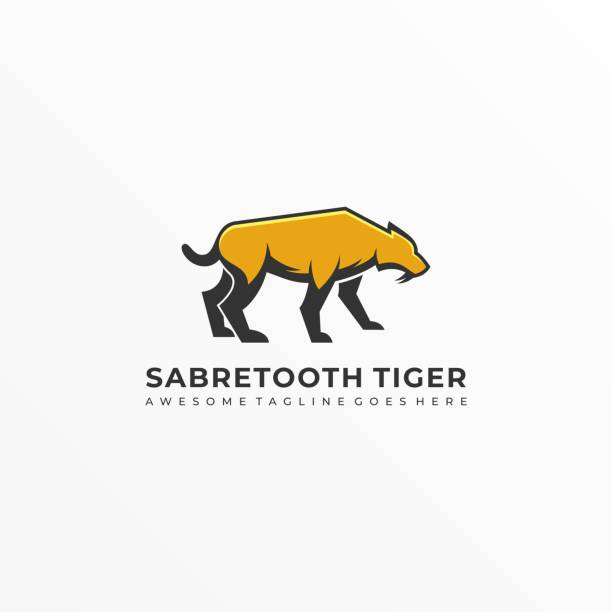 Vector Illustration Saber Tooth Mascot Cartoon. Vector Illustration Saber Tooth Mascot Cartoon. lion feline stock illustrations