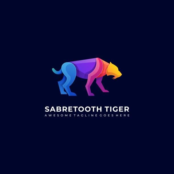 Vector Illustration Saber Tooth Walking Gradient Colorful. Vector Illustration Saber Tooth Walking Gradient Colorful. lion feline stock illustrations