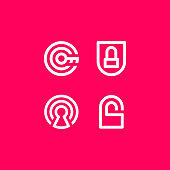 Pink vector illustration security safety. Clean line icon for logo or emblem