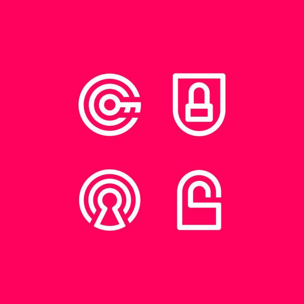 Vector Illustration Safety Security Icon Logo Pink vector illustration security safety. Clean line icon for logo or emblem keyhole stock illustrations