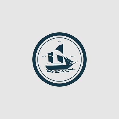 Vector Illustration Sailboat Vintage Badge Style.