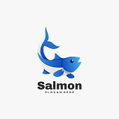 Vector Illustration Salmon Gradient Colorful Style.