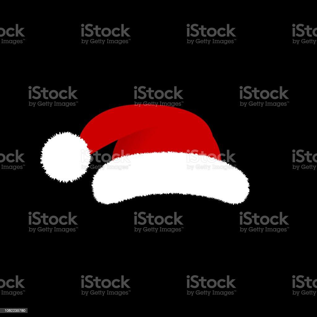 b9b13bac38f31 Vector Illustration. Santa Claus hat isolated on black background. Cartoon  style - Illustration .