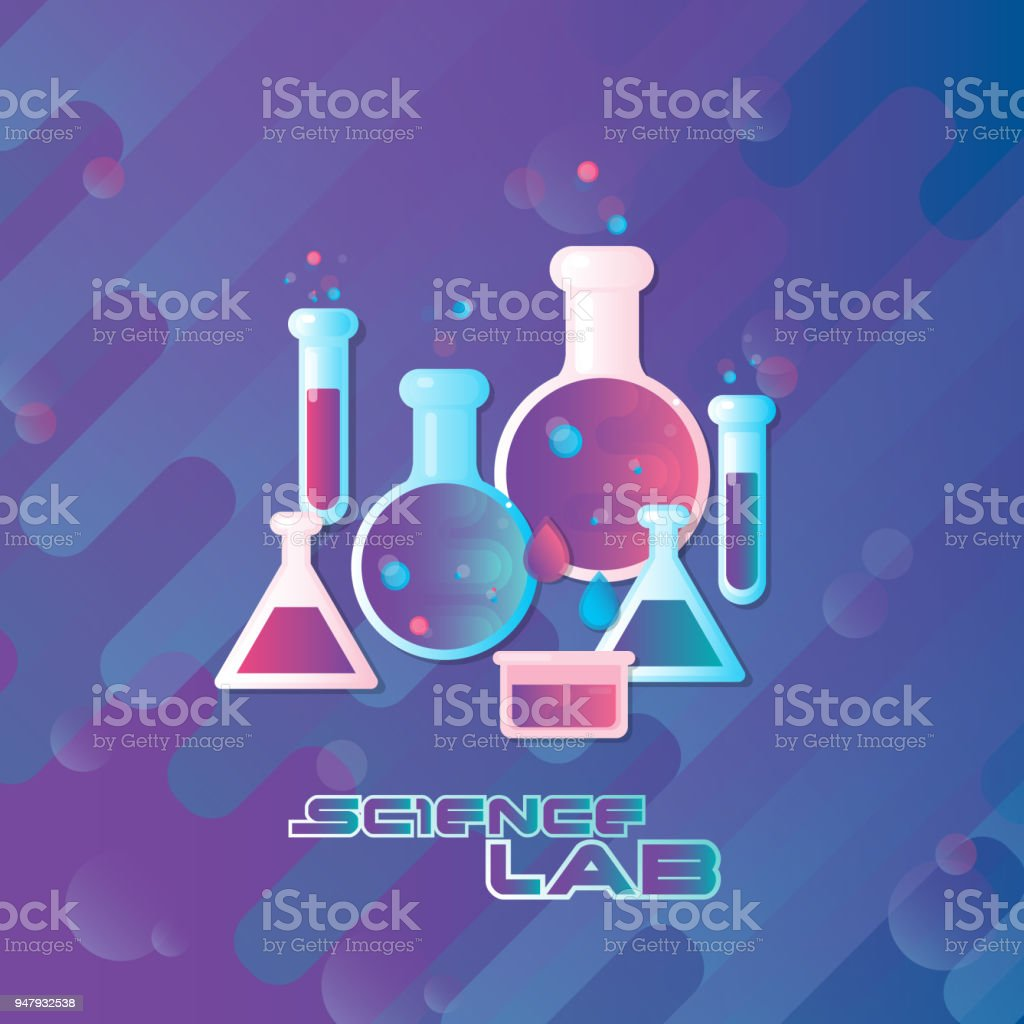 Vector illustration. Science lab concept with flat flasks.