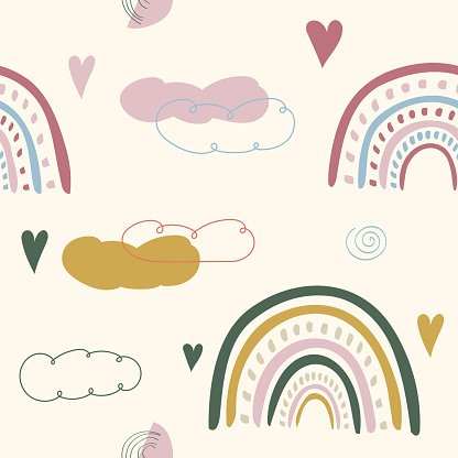 Vector illustration. Seamless background. Colorful rainbow pattern. Design elements for banner, web page, print. Baby cute design graphic. Minimal hand drawn style. Simple doodle shapes. Abstract art.